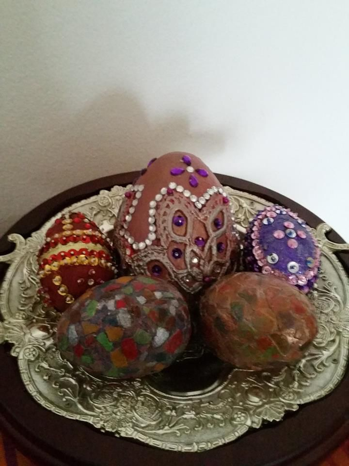 Decorative paste eggs made with different techniques, made of polystyrene, eggshells, acrylic colors, sparkles, eggshells, stones of Suciu Geta