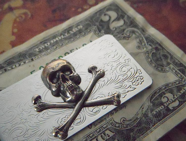 Mens Money Clip Skull And Crossbones Gothic Victorian Pirate Skull Money Clip Silver Plated Metal Vintage Inspired Steampunk Style. $45.00, via Etsy.