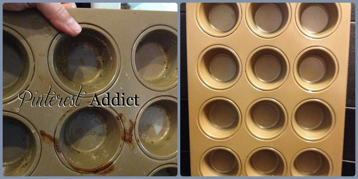 Cupcake Pan before & after by,using a dryer sheet and soaking overnight: Cleanses, Kitchen Sink, Clean Baked, Cupcake Pans, Clean Stuck On, Stuck On Food, Hot Water, Clean Foods, Cleaning Tips