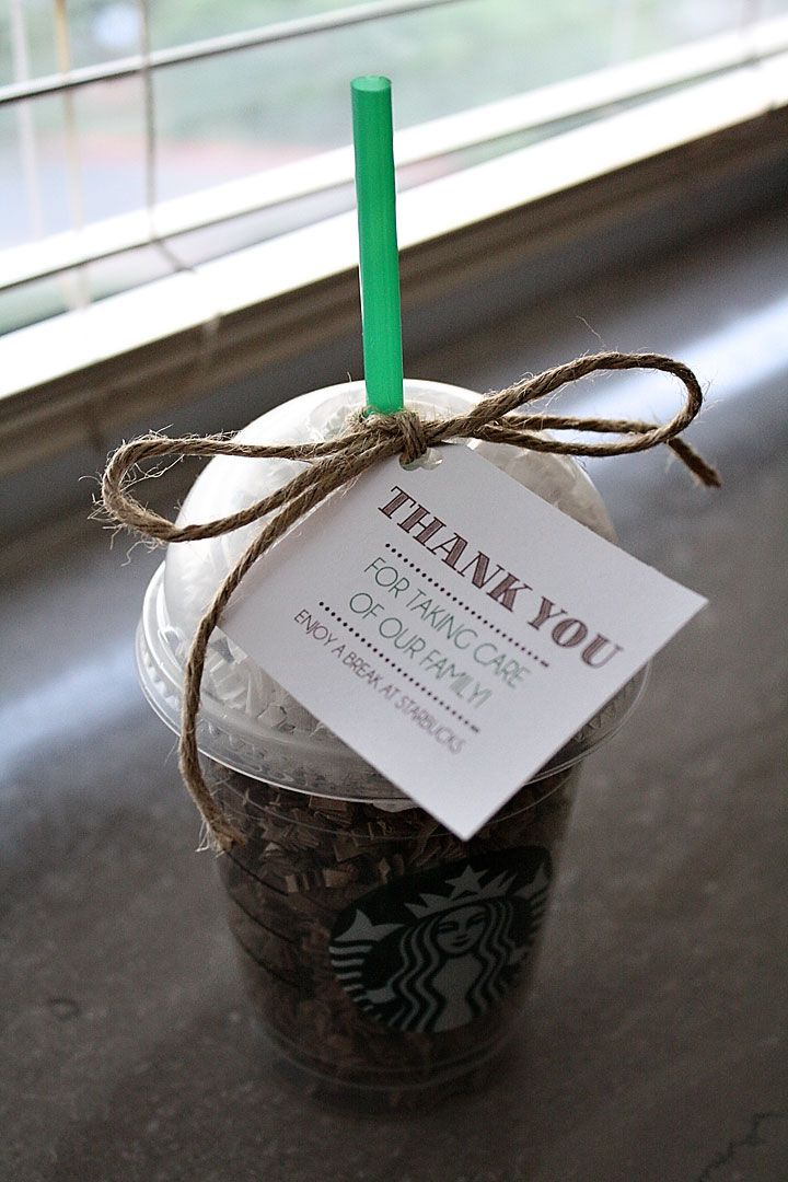 Crinkle paper and place inside, and Add a Starbucks gift gard--variation of another Pinterest craft.