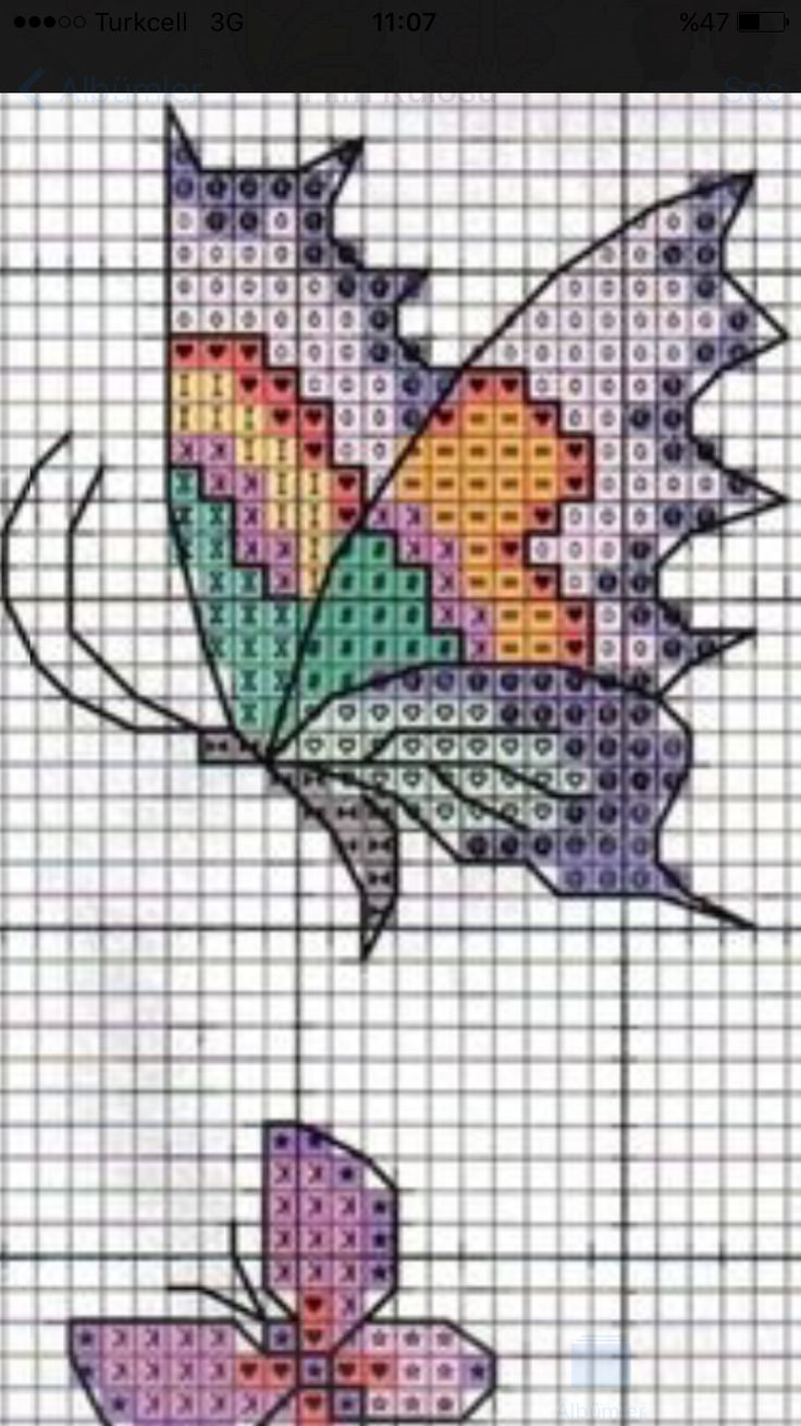 Cross stitch butterflies and chart.
