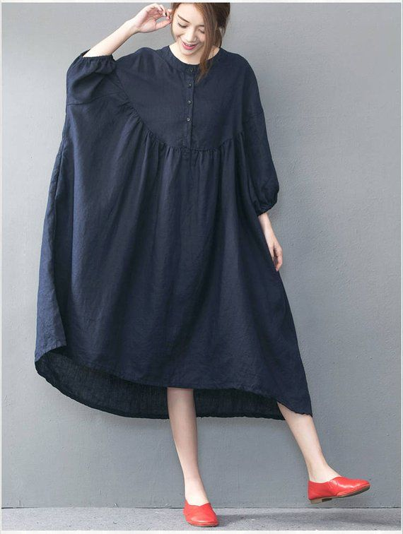 bb469a7246 Rund Neck Loose Fitting Long Maxi Dress - Dress in Navy Blue Short Sleeved Linen  Dress for Women