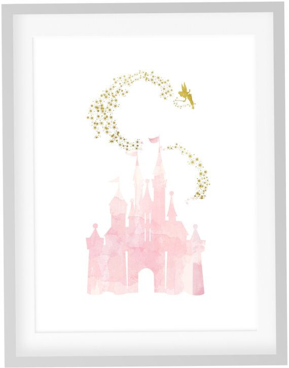 Tinkerbell Print, DIY Printable Pink Blush Watercolor Disney Princess Castle with Gold Stars Tinkerbell Picture Print Art, Girls Nursery Art