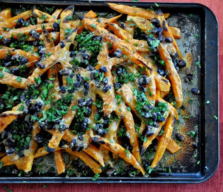 ¡Hola! Jalapeño: Sweet Potato Nachos with Smoked Cheddar and Black Beans