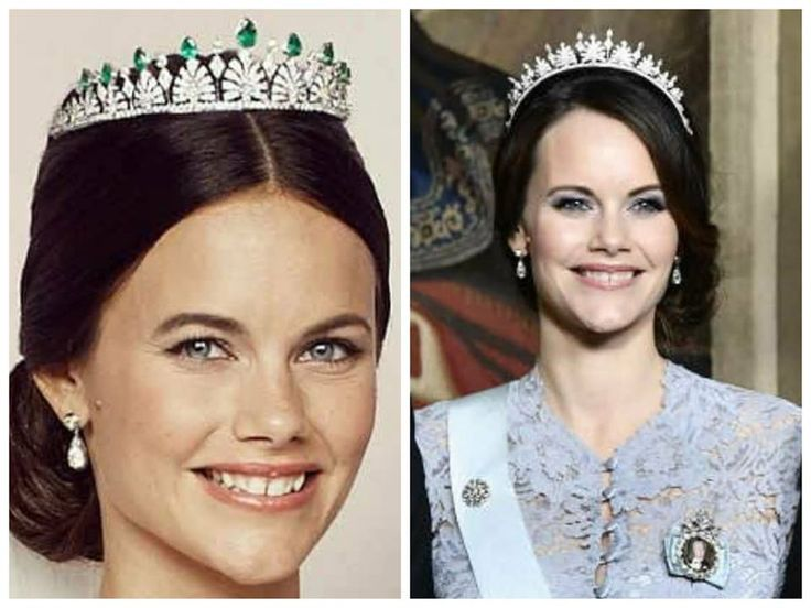 Princess Sofia of Sweden in her wedding tiara. A new look revealed at a state banquet on the 23 of November 2017. Ememralds taken off and tiara fitted more like a kokoshnik tiara.