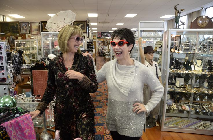 My sister, keri & Myself inshore trying on the new/vintage sunnies ! lots of fun.