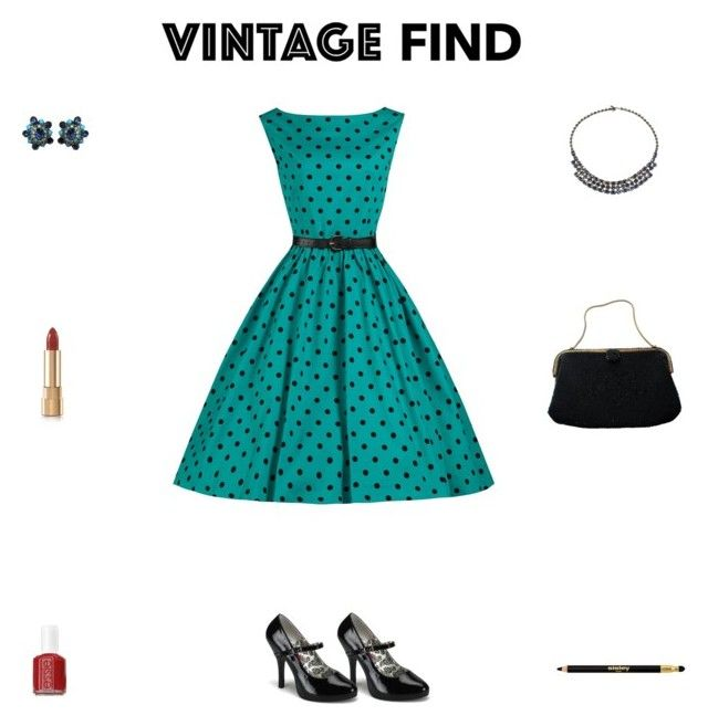 """""""Contest: Black & Peacock 1950s Outfit"""" by billsacred ❤ liked on Polyvore featuring Caron, Alice Joseph Vintage, Christian Dior, Dolce&Gabbana, Sisley Paris, Essie and vintage"""