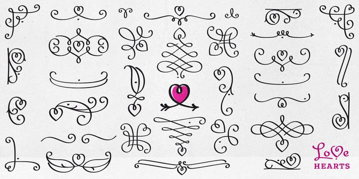 LoveHearts - Webfont & Desktop font « A lovely valentine inspired set of calligraphic ornaments and frames including seamless borders and patterns. With more than 160 hand drawn unique designs LoveHearts is the perfect choice for designing romantic greeting cards and beautiful wedding invitations as well as letter signatures and anniversary accessories.