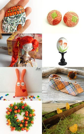 Easter in orange by Gioconda Pieracci on Etsy--Pinned with TreasuryPin.com