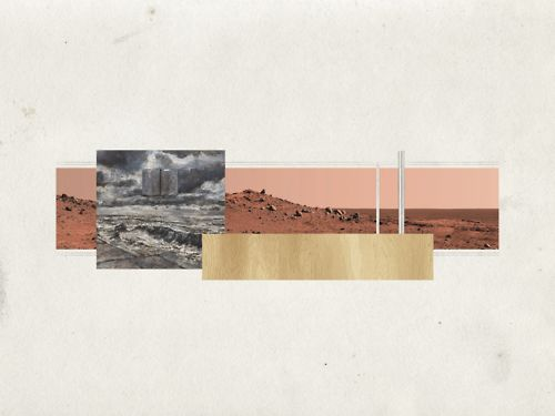 "dom-ino:  have mies will travel 7 resor house, mars (1937-1938) collage 30"" x 40"" mies van der rohe"