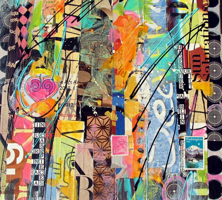 Contemporary Mixed Media Art | 24x12 torn paper collage abstract mixed media on canvas