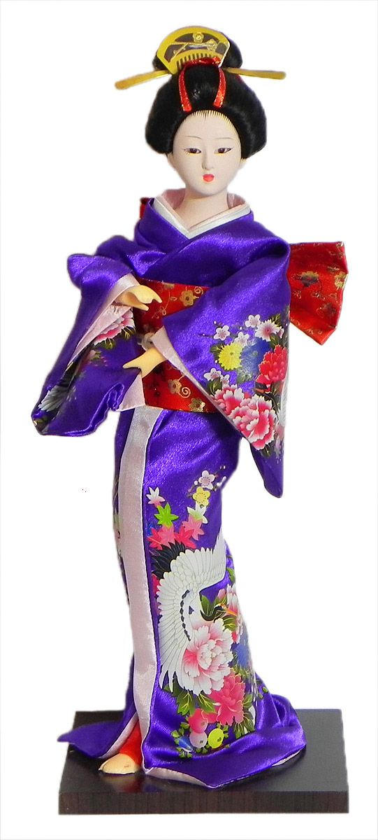 Japanese Geisha Doll in Printed Purple Kimono Dress (Cloth, Clay, Plastic and Thermocol)