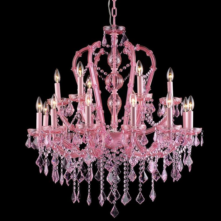 Pink Traditional Colored 18 Light Crystal Chandelier