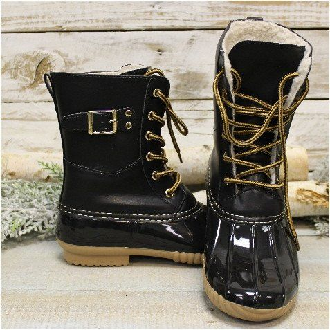 Our weather boots are ready for winter duty! Keep your tootsies cozy and dry in these lined rubber soled black all weather boots. Lined with a cuddly fleece fabric, side zipper for easy on and off. Th