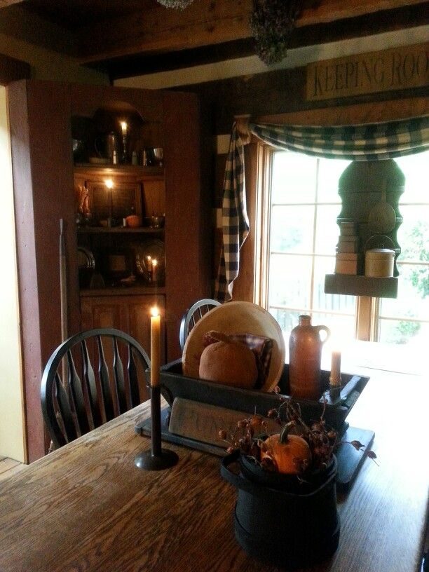216 best dining rooms images on pinterest kitchen rustic for Primitive dining room ideas
