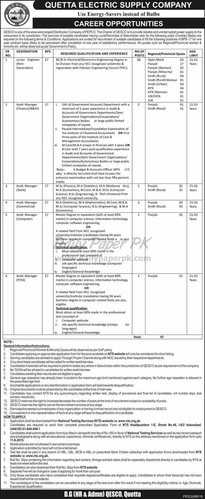 Career Opportunities in Quetta Electric Supply Company QESCO Balochistan For #jobs detail and how to apply: #paperpk http://www.dailypaperpk.com/jobs/238989/career-opportunities-quetta-electric-supply-company-qesco-balochistan