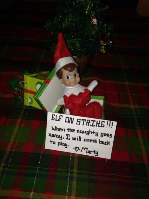 Elf on the Shelf on STRIKE! In LOVE with this idea as a way to get kids to behave even when the Elf if around and they're not behaving.