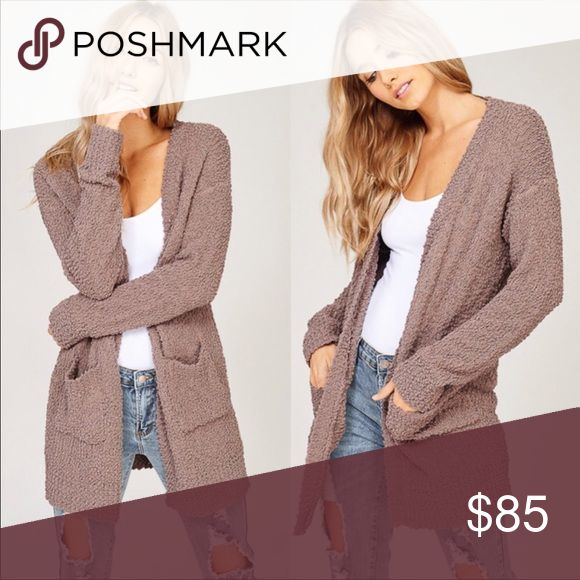 Uber Soft Cardigan This cardigan is available in the color mocha as shown in the above picture. Super soft and cute! Great addition to any wardrobe. Made in China 65% Polyester 35% Rayon  Bundle with other items from my boutique for a special discount! Listicle Sweaters Cardigans