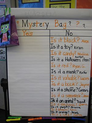 You put an item in the mystery bag and then have the kids take turns asking questions to try to narrow down the possibilities. It is great to develop deductive reasoning skills.: Halloween Freebies, Mystery Item, Student, First Halloween, Asking Questions, Teaching Ideas, Mystery Bag Ideas, Classroom Ideas, Kid