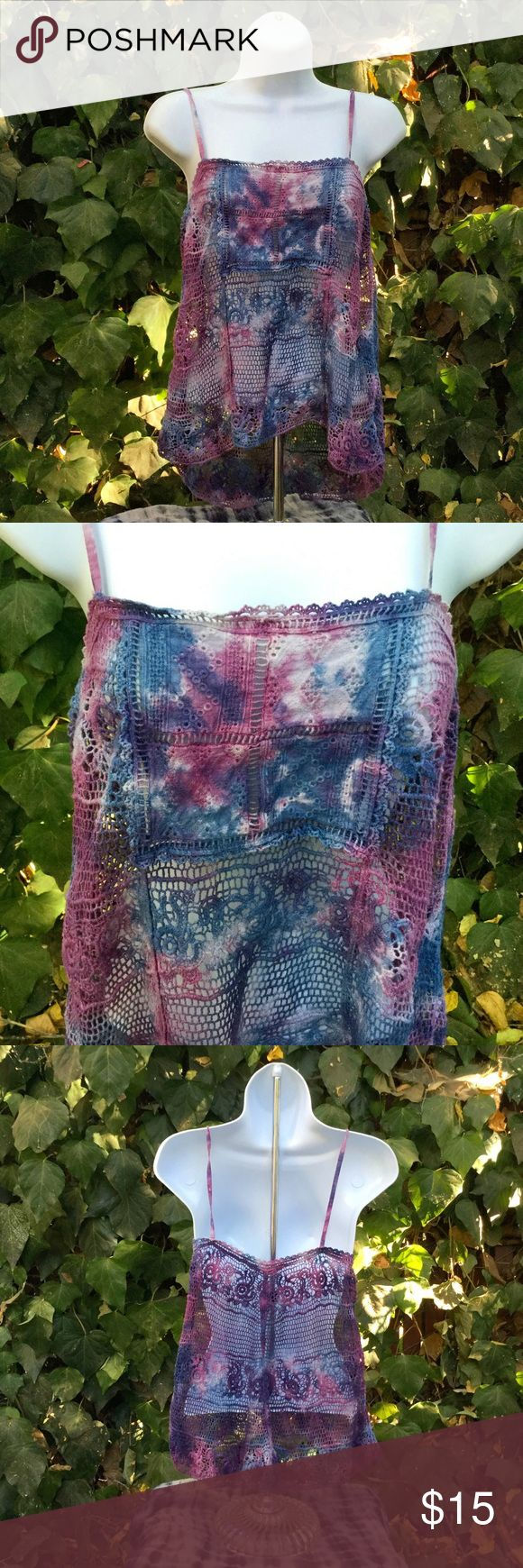 Ecote Tie Dye Crocheted Top Cute tank top with purple, blue, and white tie dye pattern. Looks cute with bandeau underneath. Ecote Tops