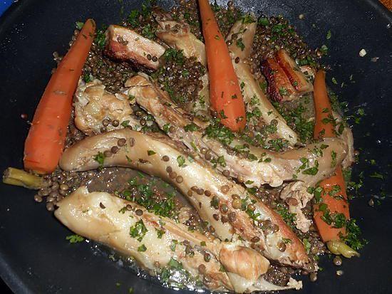 recette Queue de cochon aux lentilles vertes du puy