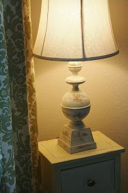 How to Paint a Metal Lamp - using chalk paint and furniture wax, a boring lamp was given a facelift - The Farmhouse Porch: Faux Balustrade Lamp DIY-Cheap and Easy