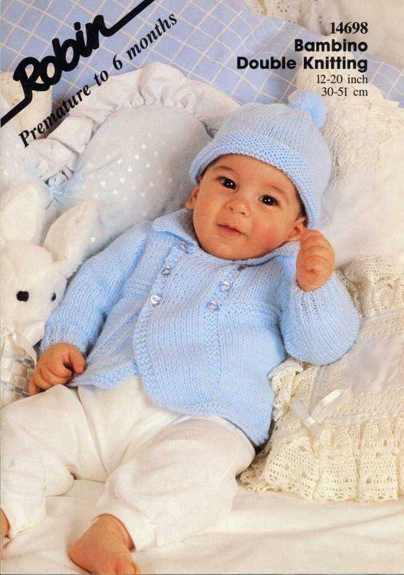 Baby Boys Double Breaster Cardigan Jacket Hat KNITTING PATTERN DK 12-20in 14698