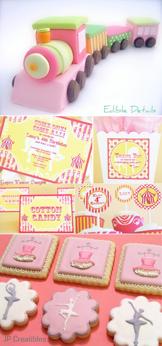 I love the pink train set and the pink and grey cookies!