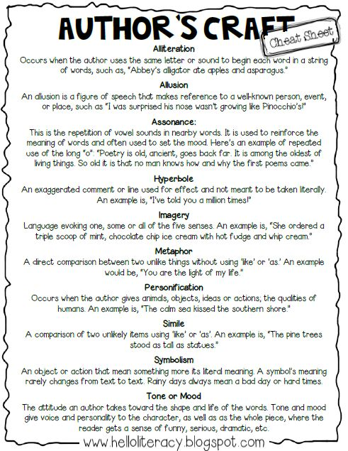 "A ""cheat sheet"" to help students remember basic literary terms. Love this, because it's quick and students can quickly turn to it in their notebooks to remember a term.  #nsc417"