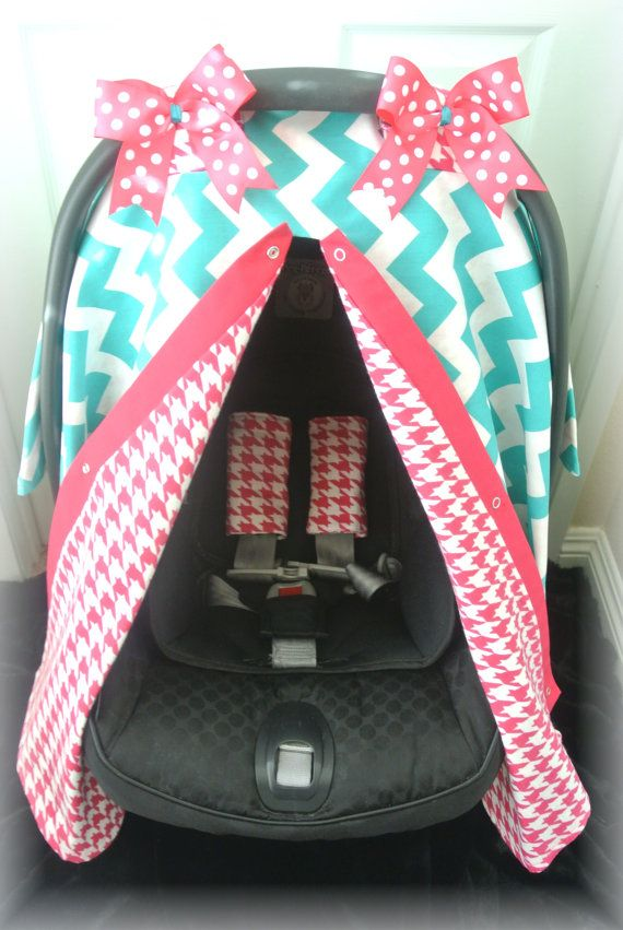 Car Seat Canopy With STRAPS FLANNEL Cover Chevron Teal Hot Pink Houndstooth Baby Infant Girl Boy Infa