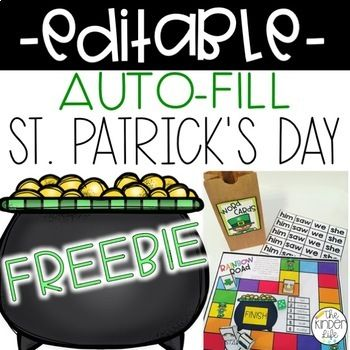Looking for a fun way to practice sight words in March?? This EDITABLE sight word game is completely auto-fill and perfect for celebrating St. Patrick's Day. Just type in the words on the first page and the word cards are INSTANTLY produced using the words YOU chose.