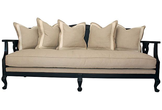 cane back couch | One Kings Lane - Brittany Stiles - Cane-Back Sofa