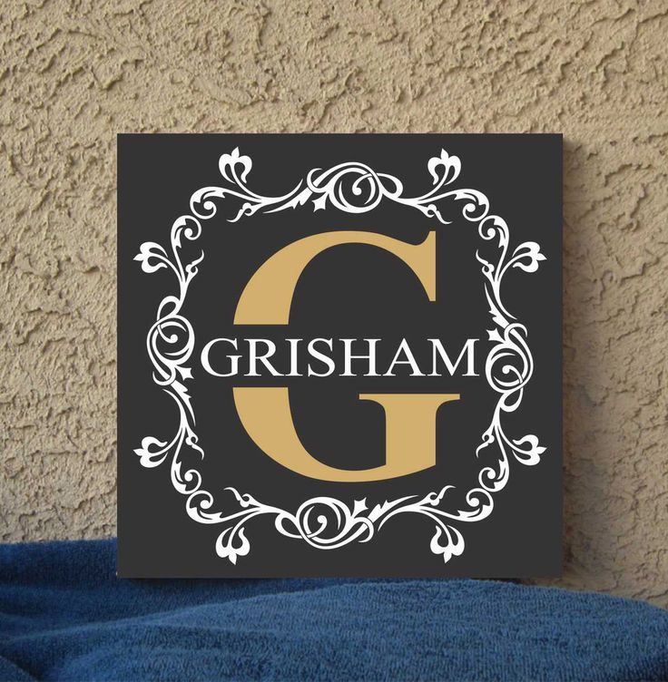 Fancy Monogram Initial Hand Painted 12 x 12 Canvas Wall Art Quote Wedding Gift