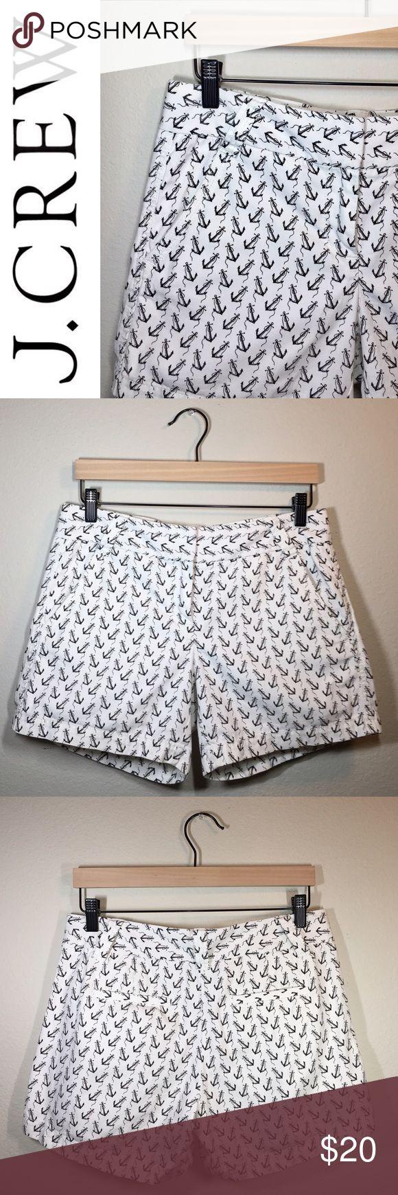 "J. Crew Anchor Shorts ✔️White Shorts with Anchor ⚓️ Pattern ✔️J. Crew City Fit ✔️Inseam: 5"" ✔️Front Slant Pockets ✔️100% Cotton ✔️Excellent Condition J. Crew Shorts"