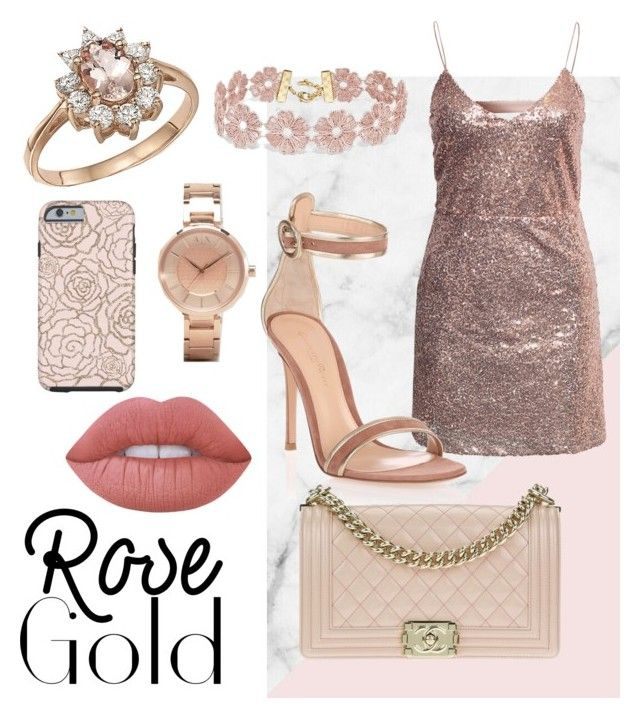 """Rose Gold 🌹"" by nicole-ncl ❤ liked on Polyvore featuring NLY Trend, Armani Exchange, Bloomingdale's, BaubleBar, Gianvito Rossi, Chanel and Lime Crime"