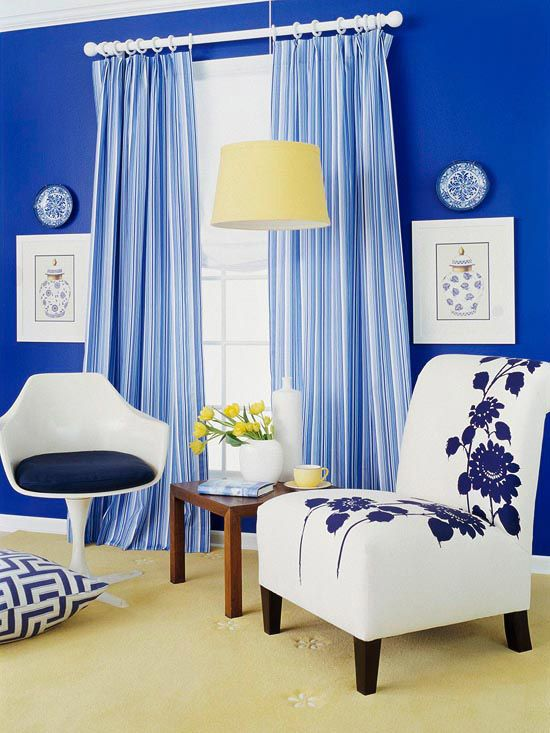 Blue & White Room. Love the drapes.