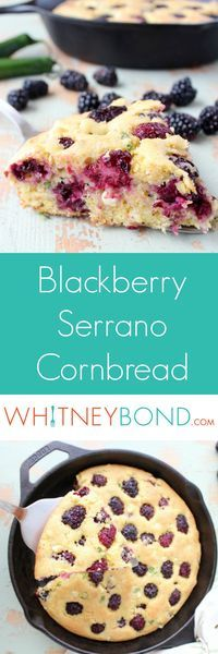 Fresh blackberries and serrano peppers add sweet, tangy and spicy flavors to this quick and easy homemade cornbread recipe. Prepared in a Lodge Cast Iron Skillet from @worldmarket  #WorldMarketTribe