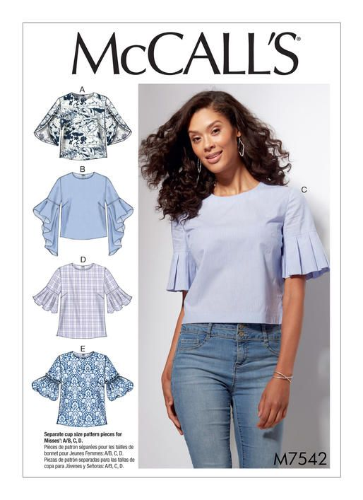 McCall's sewing pattern. M7542 Misses' Tops with Trumpet, Tulip, Pleated or Bubble Sleeves