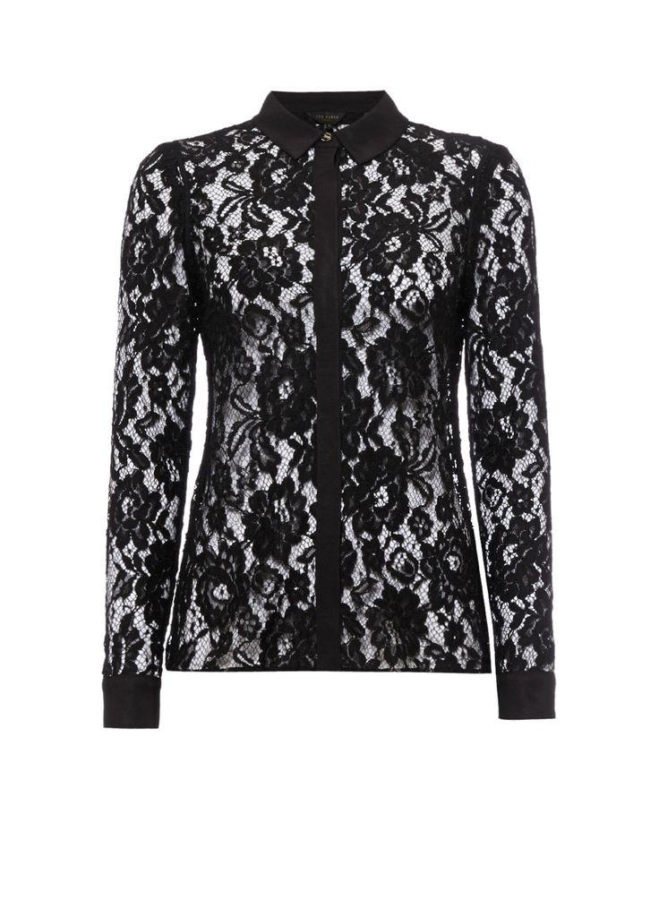 Ted Baker Dominia zwarte kanten blouse • de Bijenkorf