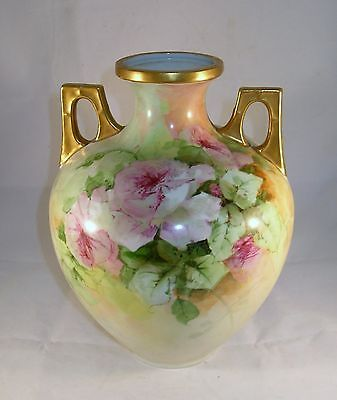 "Beautiful hand painted floral urn rose bouquet gold gilt large 10 1/2"" tall"