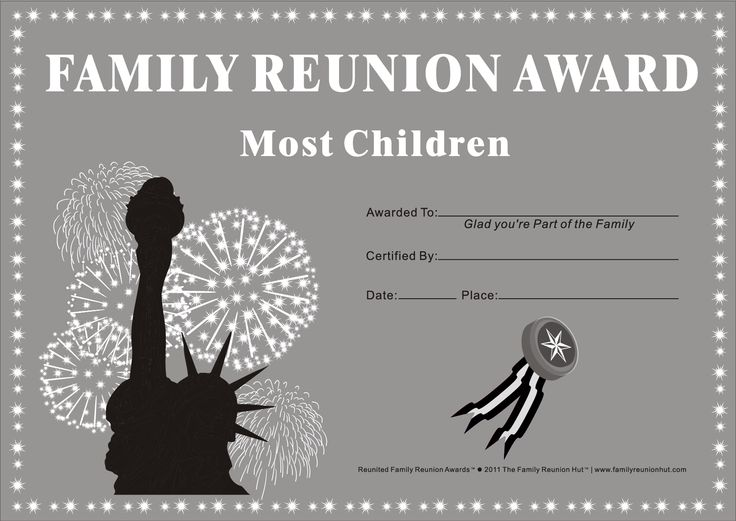 family reunion ideas.  We could make up similar awards that would suit our family.  Most years married.  Most years living in the same location.  Most moves in your lifetime. Most countries visited, etc.  Might need to send out a family questionnaire to get the right answers.