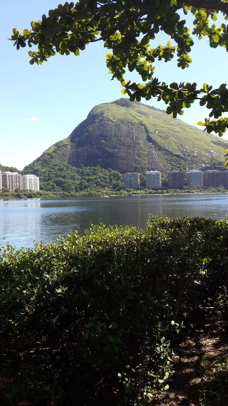 Lagoon framed by magnificent mountains. Nice walkways all around