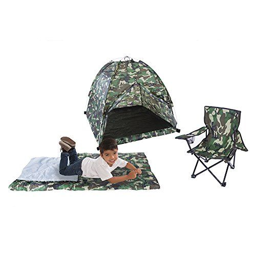 Pacific Play Tents Kids Green Camo Dome Tent Set with Sleeping Bag and Chair - Camo Guys