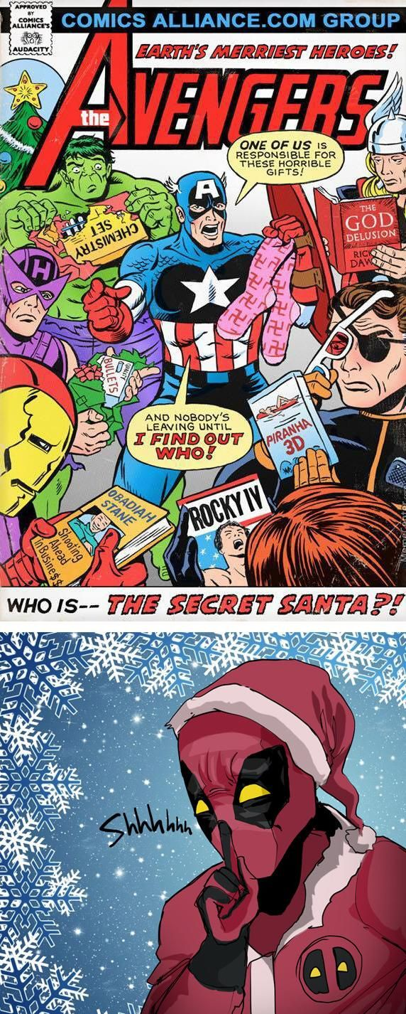 Secret Santa Deadpool, Fandom funny, Comics