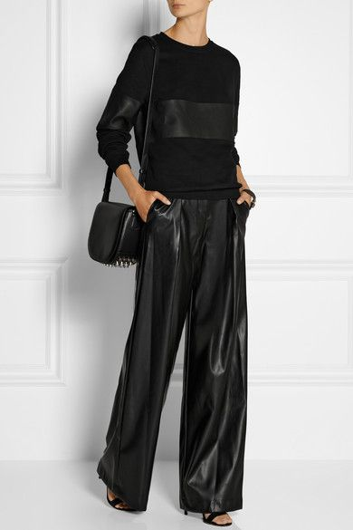 leather wide leg pants - Pi Pants