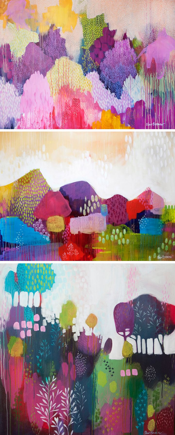 Artist Clair Bremner experiments with color combinations that are not traditionally associated with nature and landscapes.