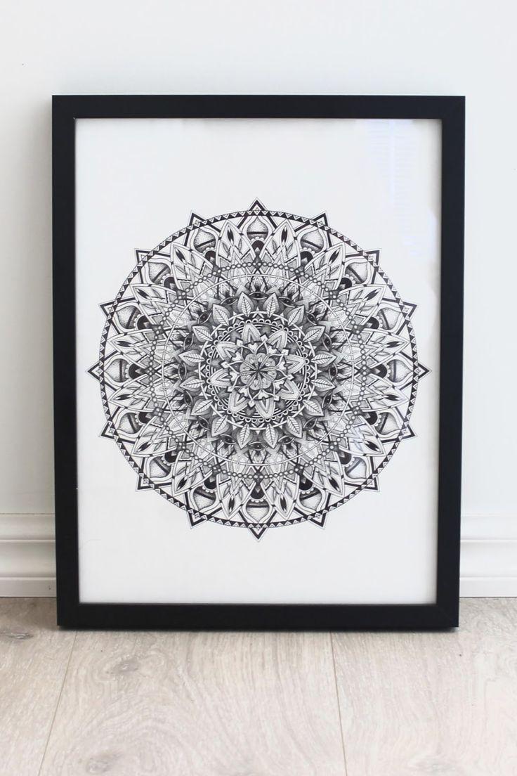 Mandala, b&w painting