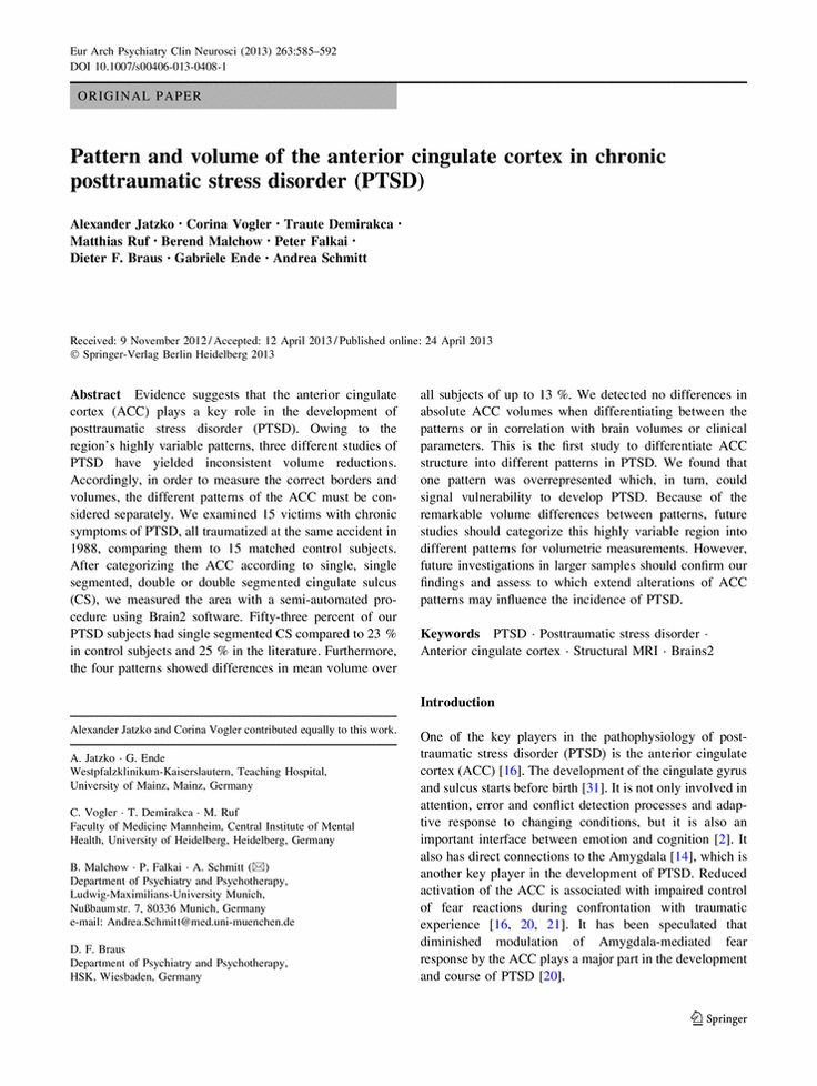 PTSD and your brain: the Anterior Cingulate Cortex European Archives of Psychiatry and Clinical Neuroscience