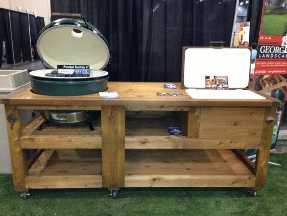 Grill Table Cabinets W Yeti Cooler Drawer Custom Built For Green Egg Do Joe Primo Vision In Gas Grills