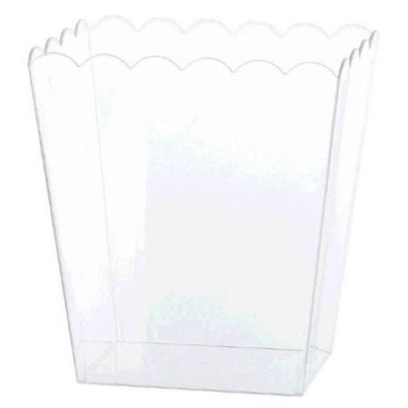 Our Clear Plastic Scalloped 7in Container offers an enticing display for tempting treats. The clear plastic lets you include the container in any theme or color scheme, perfect for candy buffet displays or everyday use. Package contains one medium plastic scalloped container measuring 6in in high. The Scalloped container is NOT microwave or dishwasher safe.